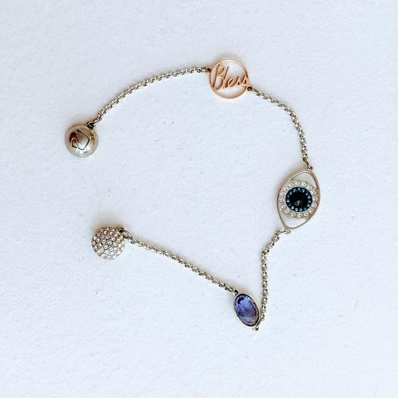 Swarovski evil eye silver bracelet with stations